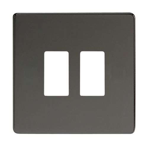 Varilight XDIPGY2S Screwless Iridium Black 2 Gang Grid Plate (Single Plate)